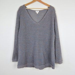 Caslon Gray V-Neck Cozy Pullover Sweater Size XLP